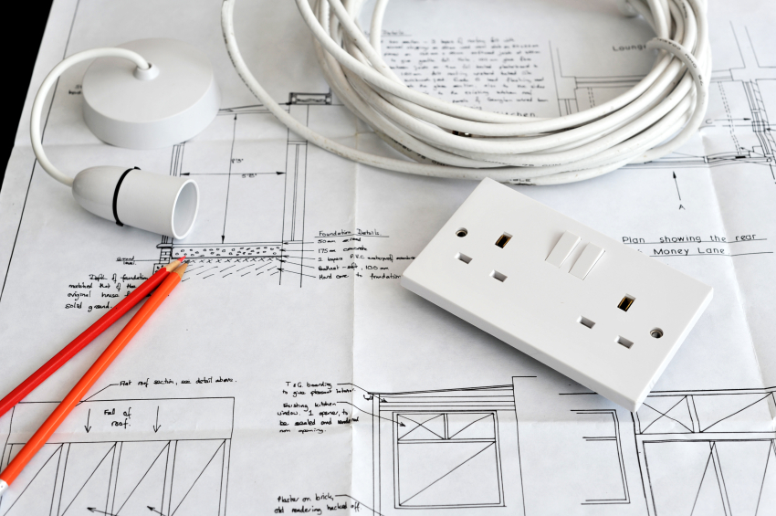 Blueprint plans of home building and construction with electrica